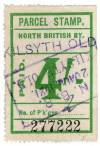 (I.B) North British Railway : Parcel Stamp 4/- (Kilsyth Old)