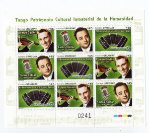 Tango Unesco world heritage music violin accordion  URUGUAY MNH STAMP sheet