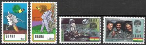 Ghana Space & Moon Landing set of 1970, Scott 386-389 MNH