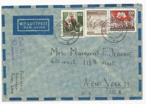 Germany DDR Scott #144, 150, 145 on Cover Air Mail to New York USA May 30, 1953