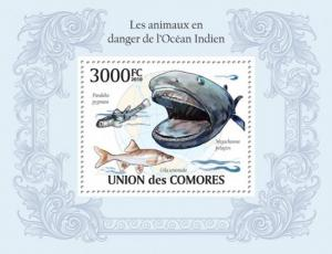 COMORES 2010 SHEET ENDANGERED ANIMALS INDIAN OCEAN FISHES MARINE LIFE cm10108b