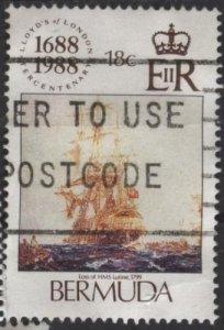 Bermuda 541 (used, big tear at lower right) 18c Lloyd's of London (1988)
