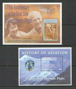QQ307 DOMINICA TRANSPORT AIRCRAFTS HISTORY OF AVIATION GREAT AVIATORS 2BL MNH