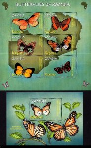 Zambia 2002 butterflies insects klb+s/s MNH
