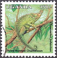 Uganda # 1330 used ~ 150sh Three-horned Chameleon