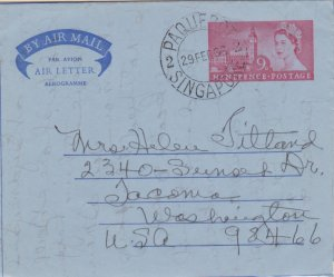 Singapore Great Britain 9d QEII Parliament Air Letter 1963 Paquebot, Singapor...