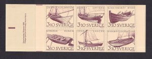 Sweden   #1666a-1671a   MNH  1988   booklet inland boats