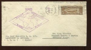 C14 Graf Zeppelin Air Mail Used Stamp on Nice Flight Cover to Spain (C14 911C)