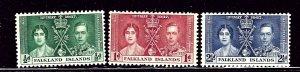 Falkland Is 81-83 MNH 1937 KGVI Coronation    (ap2395)
