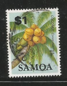 SAMOA 615 USED COCONUT STAMP 1983