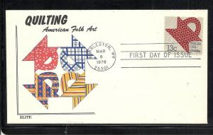 US #1746 Quilts Elite cachet U/A