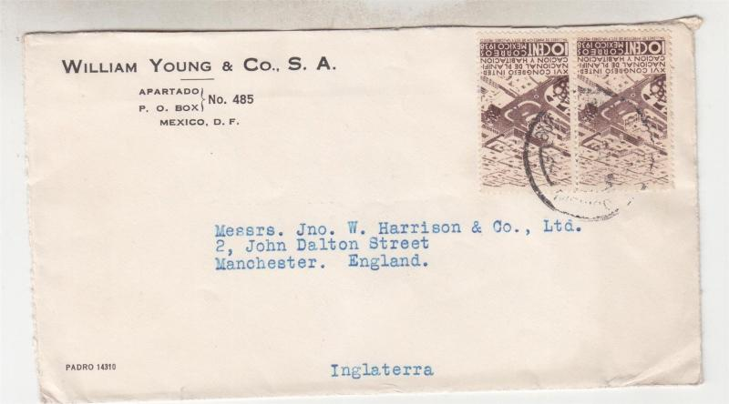 MEXICO, 1939  cover, Town Planning 10c. Brown pair, Mexico to Manchester UK.