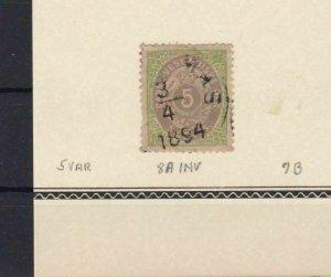 DANISH WEST INDIES 1873 5c INVERTED FRAME USED STAMP   REF 5750