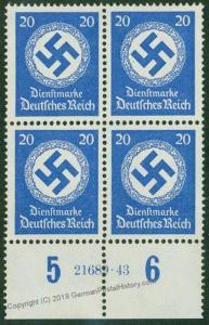 3rd Reich Officials Dienstmarken Plate Blocks HAN MNH 46626