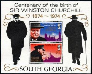South Georgia 40a S/S, MNH. Sir Winston Churchill, birth cent. 1974