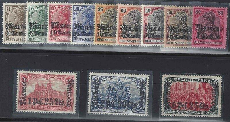 German Morocco 1906-1911 SC 33-44 Most Signed Mint SCV$ 467.00 Set