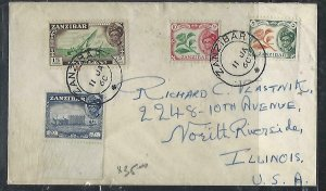 ZANZIBAR  (PP2608B) 1960  SULTAN 5C+10CD+15C+20C   COVER TO USA