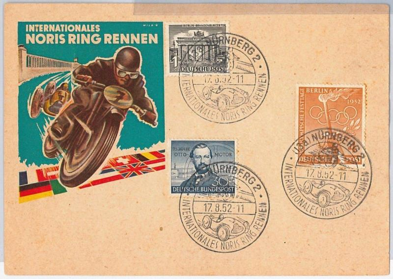 GERMANY -  POSTAL HISTORY - SPECIAL CARD with POSTMARK: MOTO RACING 1952