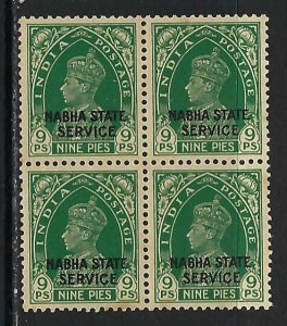 INDIA NABHA 038 MOG/MNH BLOCK OF 4 P119
