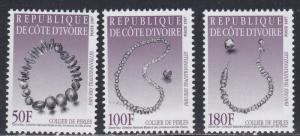 Ivory Coast # 1003-1005, Traditional Jewelry, NH, 1/2 Cat.