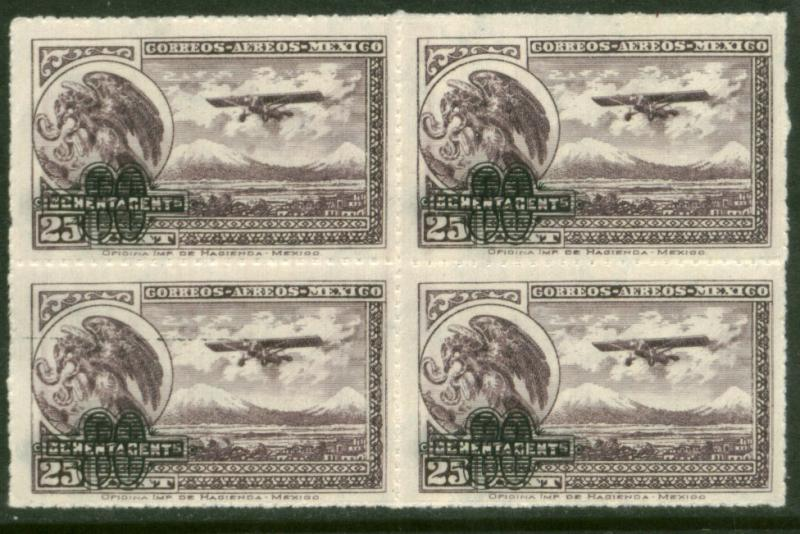MEXICO C50 80cts on 25cts Surcharged. Block of 4 MNH (610)