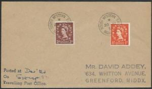 GB 1957 cover SOUTH WESTERN TPO / NIGHT UP railway cancel..................53274