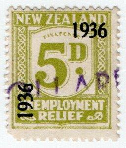 (I.B) New Zealand Revenue : Unemployment Relief 5d (1936)