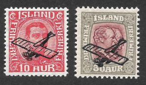 Doyle's_Stamps: MH Early Iceland Airmails Issues, Scott #C1* to #C2*