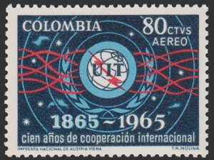 AIRMAIL STAMP FROM COLOMBIA 1965. SCOTT # C467. UNUSED