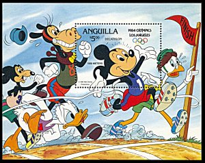 Anguilla 568, MNH, Disney Los Angeles Olympics Mickey Decathlete souvenir sheet