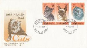 NZFD897) NZ 1983 Health Issue Cats cachet FDC. Bearing 1983 Health Cats set