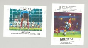Grenada #1727a, 1728 World Cup Soccer 2v S/S Imperf Proofs