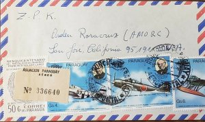 Paraguay 1980 Registered mail To ROSECRUCIAN SAN JOSE. MILITARY planes...