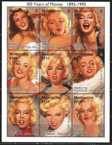 Montserrat. 1995. Small sheet 915-23. Marilyn Monroe, movie. MNH.