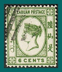 Labuan 1892 Queen Victoria 6c, cancelled  #34,SG40