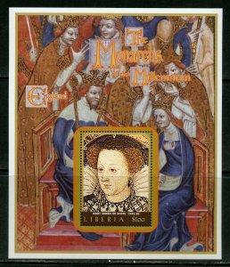 LIBERIA MONARCHS OF THE MILLENNIUM MARY QUEEN OF SCOTTS  SOUVENIR SHEET MINT NH