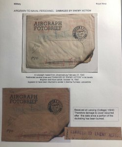 1943 Johannesburg South Africa Navy Airgraph Cover Damaged By Enemy Action