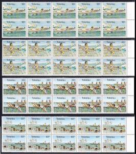 Tokelau Water Sports 4v Strips of 10 SG#73-76 SC#73-76