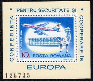Romania 1977 European Security Conference  Air Mail MNH Miniature Sheet SC C212