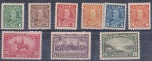 Canada 1935 Sc. #217-225 Mint F-VF-H-HR Cat. US$47.90 = CDN. $59.90