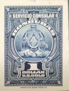 O) 1940 HONDURAS, COAT OF ARMS SERVICIO CONSULAR 1 dolar U.S. gold, AMERICAN BA