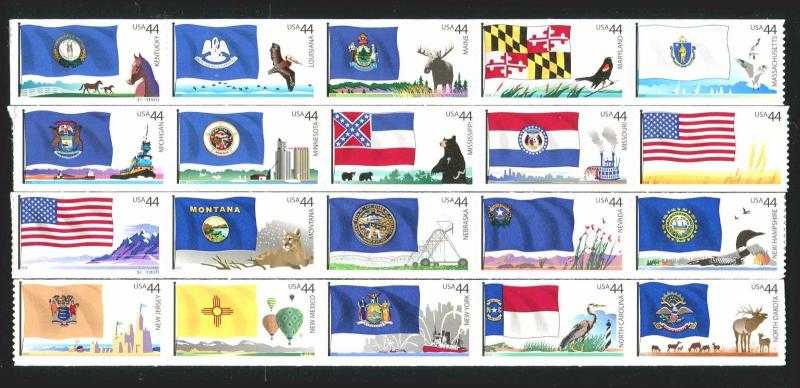 US Sc #4293 - 4312 44c Flags of Our Nation Set 3 & 4 44¢ Coil Strips of 5