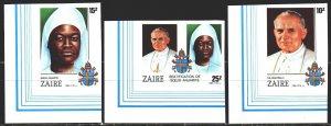 Kinshasa. 1986. 928V-30V. Pope Paul II's visit to Congo. MNH.
