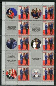 KENYA 2018 BARACK OBAMA SHEET OF 20 STAMPS AND 20 CONTIGUOUS LABELS MINT NH