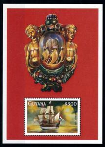 [78740] Guyana 1998 Sailing Ship Half Moon Souvenir Sheet MNH