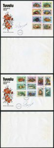 Tuvalu 1979 FISH set On Two FDC Signed by the designer G Drummond