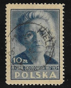 Poland # 410   Madame Curie   1947  (1)    VF Used