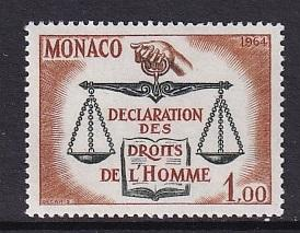 Monaco  #599   MNH  1964  human rights declaration   scales