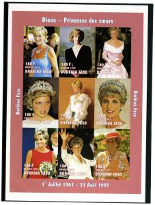 Burkina Faso Princess Diana Deluxe Sheet mnh.vf