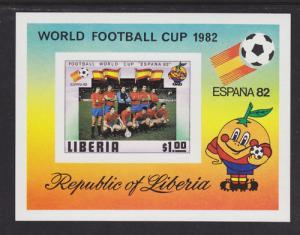 Liberia Sc 892 MNH. 1981 World Cup Imperf S/S, España 82